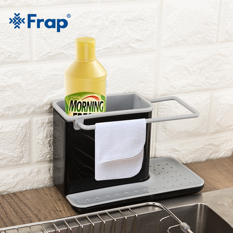 FRAP Sponge Kitchen Box Draining Rack Dish Shelf Draining Sink Storage Rack Kitchen Organizer Stands Utensils Towel Rack
