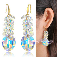 High Quality Crystal Drop Earrings Fashion Clear Transparent Shining Light Blue CE93