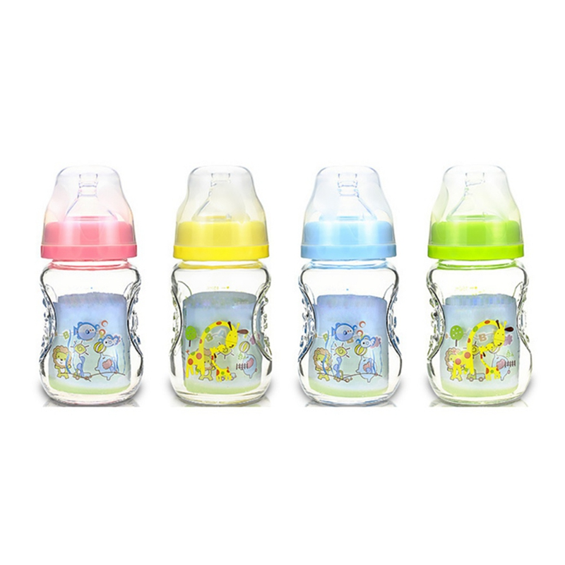 1Pcs Baby Feeding Bottle 150ml Large Mouth Caliber Glass Fruit Juice Cup Bottle Newborn Baby Supplies Silicone Teat