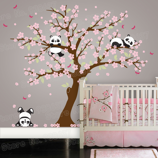 Panda Bear Cherry Blossom Tree Wall Decal For Nursery Vinyl Self Adhesive Wall  Stickers Flower Tree