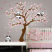Panda Bear Cherry Blossom Tree Wall Decal for Nursery Vinyl Self Adhesive Wall Stickers Flower Tree Home Decor Bedroom ZB572