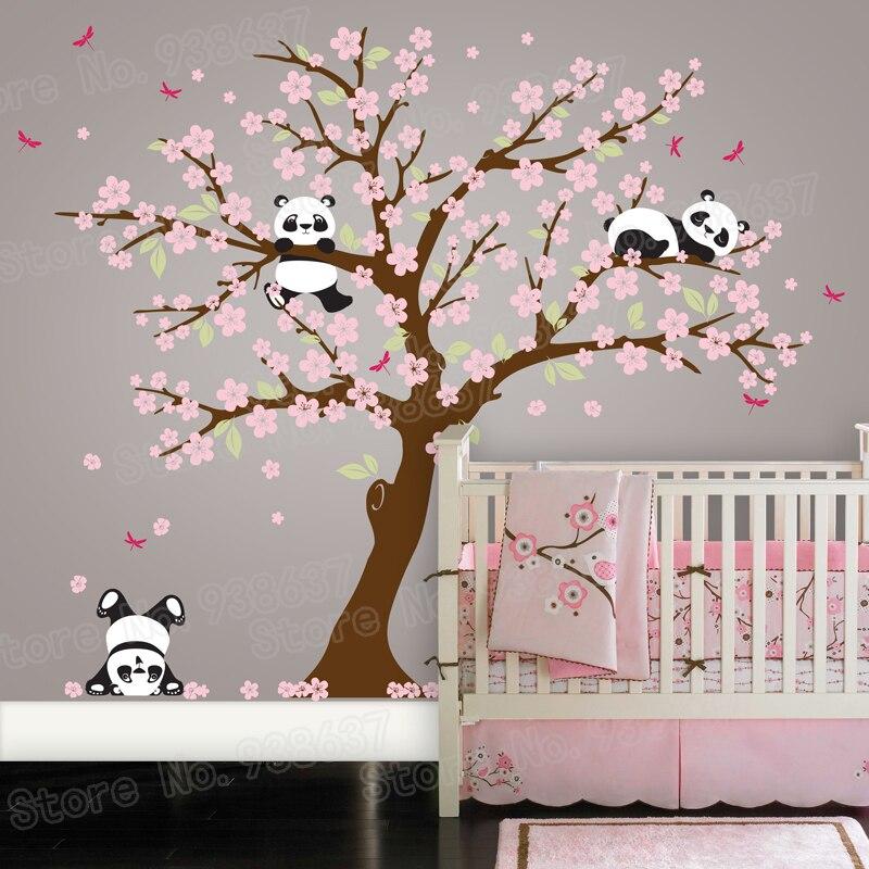 Panda Ours Cherry Blossom Arbre Wall Sticker Nursery Vinyle Auto-Adhésif Stickers Muraux Fleur Arbre Décor À La Maison Chambre ZB572