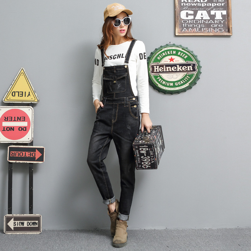 Free Shipping 2017 New Fashion Black Denim Bib Pants Plus Size 25-31 Trousers Spaghetti Strap Skinny Jumpsuit And Rompers free shipping 2017 new fashion summer denim bib pants loose plus size 3xl jumpsuit and rompers women shorts cotton jeans casual