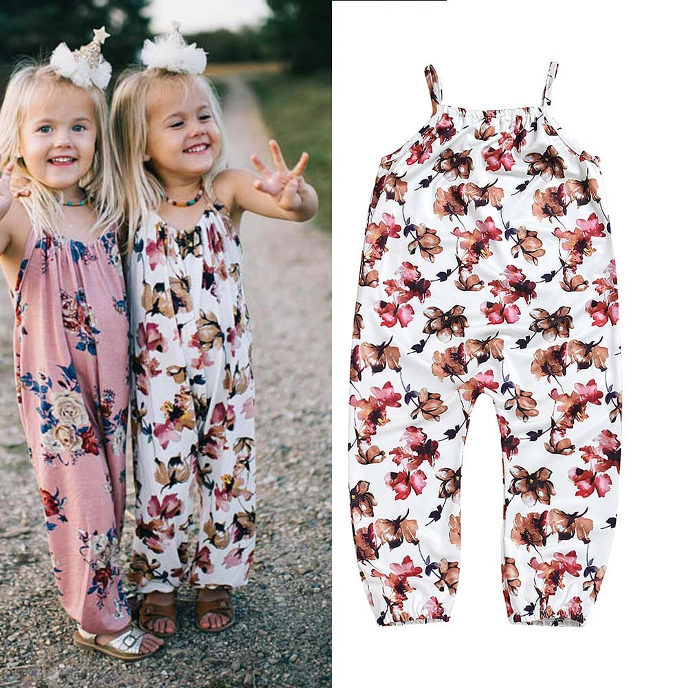 Children Kids Girl Jumpsuit Jumper Baby Printing Floral Summer Outfit Cute Romper AN88