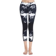 HYCOOL Women Yoga Pants High Elastic Stretch Running Tights Snowflake Printed Patchwork Mesh Sport Slim Leggings Fitness Trouser