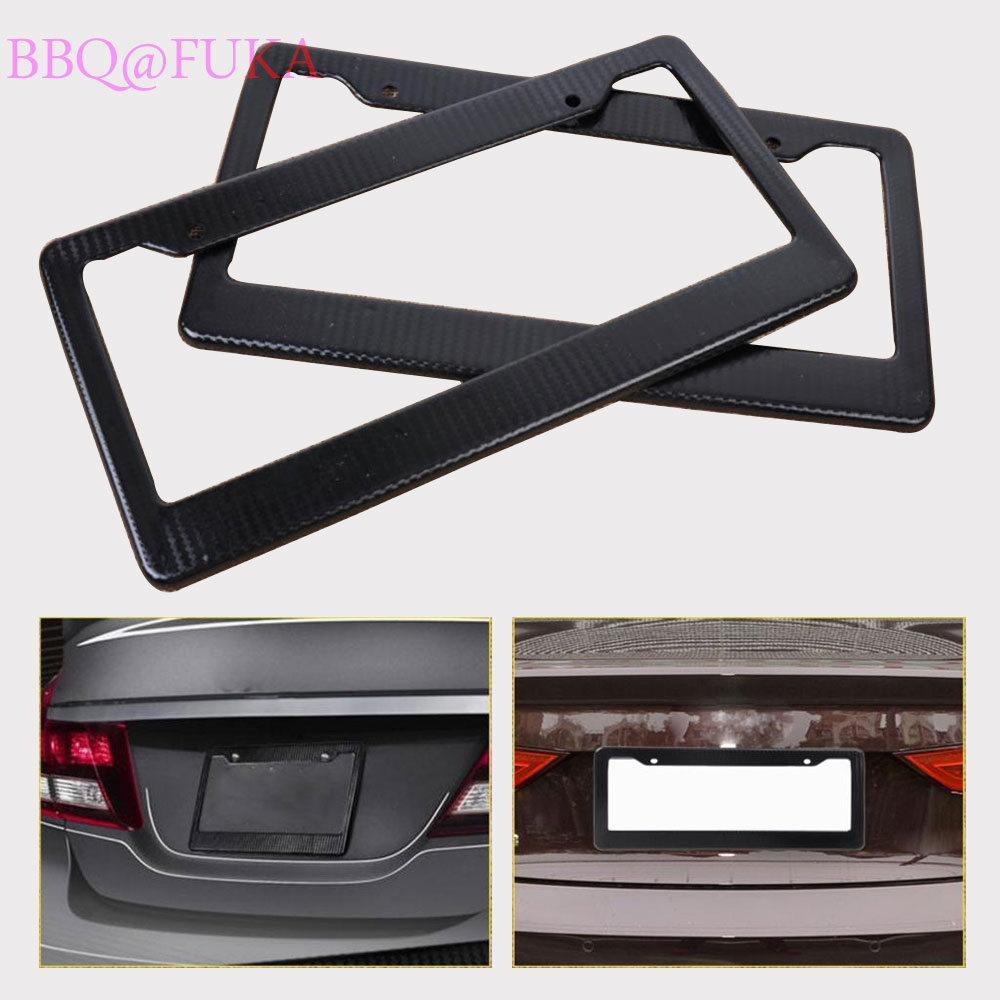 Black Carbon Fiber Look Style License Plate Frame Cover Front /& Rear Universal