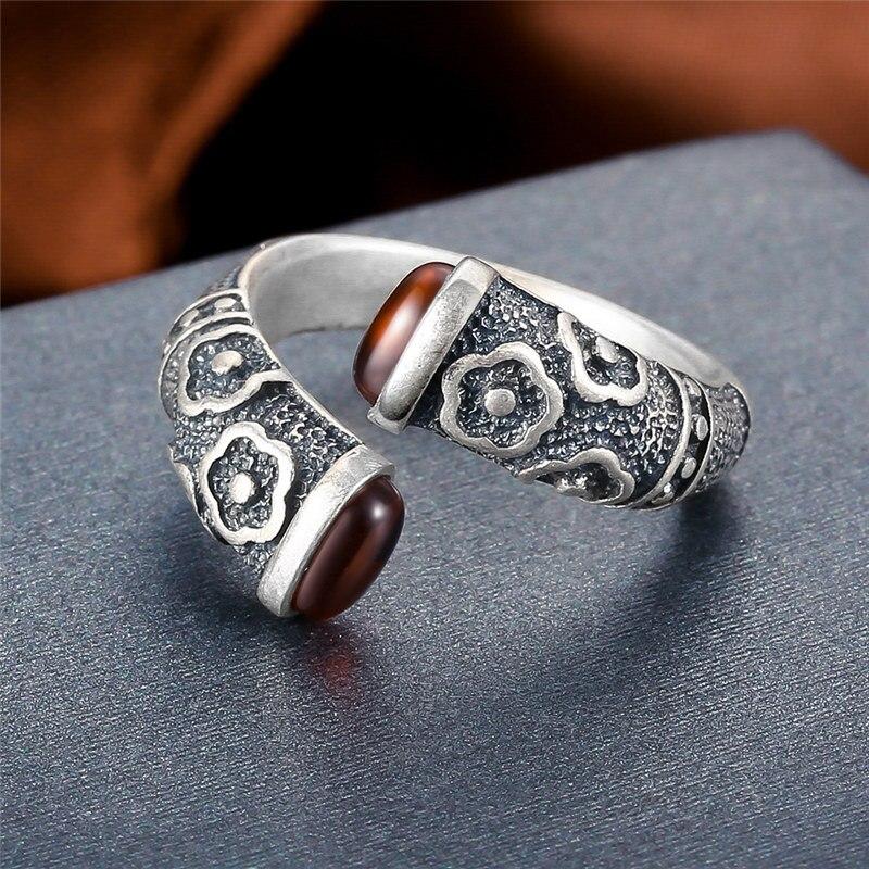 Image 2 - V.YA Retro Red Garnet Rings 925 Sterling Silver Ring for Women Female Natural Semi precious Stone Jewelry Birthday GiftRings   -