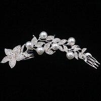 Flowers Rhinestone Hair Combs The Bride Plug Comb Hair Pearl Hairpins Metal Crystal Accessories Jewelry Wedding