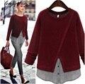 2017 a primavera eo outono na Europa e América Do grande tamanho mulheres new Magro em torno do pescoço knit costura hedging longo-sleeved T-shirt AL