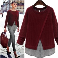 2017 Spring And Autumn In Europe And America Large Size Women New Slim Round Neck Knit