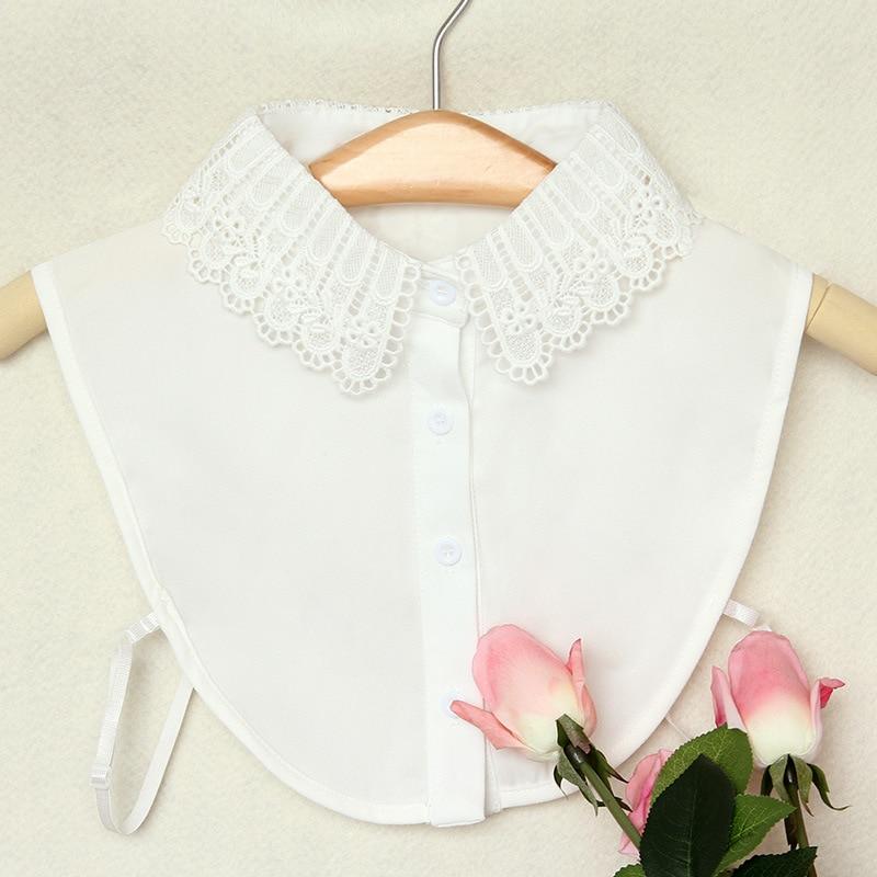 Women Sweater Shirt Tie Chiffon Lace Fake Collar Hollow Lace Flower Detachable False Collar Lapel Blouses Top