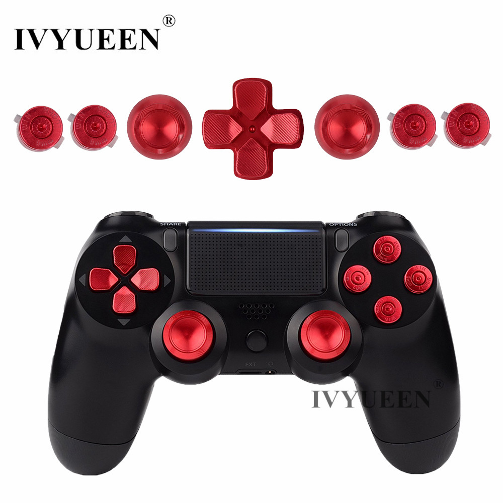 IVYUEEN Untuk Dualshock 4 PS4 Pro Slim Controller Red Metal Analog Sticks Aluminium Dpad Butang Tindakan Untuk Playstation 4 Gamepad