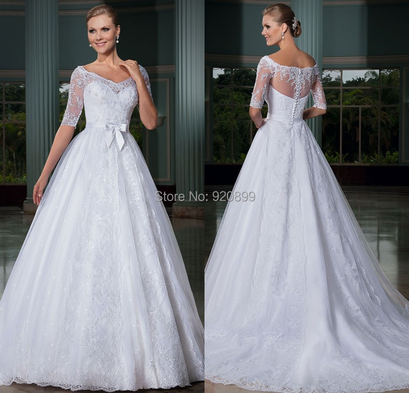 Wedding Dresses With Sweetheart Neckline And Sleeves: 2014 Beautiful Sweetheart Neckline Half Sleeve Wedding