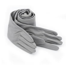 60cm(23.6) long classic plain top sheep leather evening opera long gloves in light grey light grey top with stripe and long sleeves