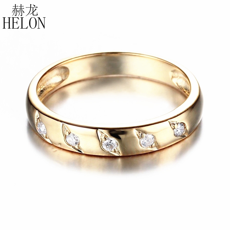 HELON Solid 18K AU750 Yellow Gold Round Natural SI/H 0.12ct Diamonds Stunning Wedding Ring Women Engagement Jewelry Band Ring baihe solid 18k yellow gold au750 engagement