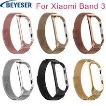 Stainless steel wrist strap for xiaomi mi band 3 metal watch band bracelet miban