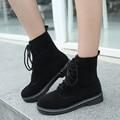 Outono Inverno Lace-up Faux Suede Ankle Boots Quente Bloco Calcanhar Plana Senhoras Sapatos Casuais Botas Cavaleiro Botas Mulheres
