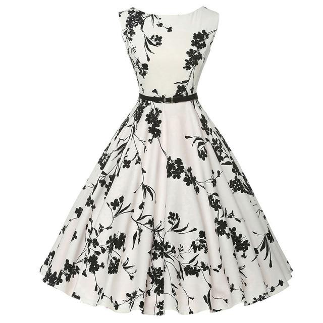 Women Summer Dress 2018 plus size clothing Audrey hepburn Floral robe Retro  Swing Casual 50s Vintage 4f244b4ed383
