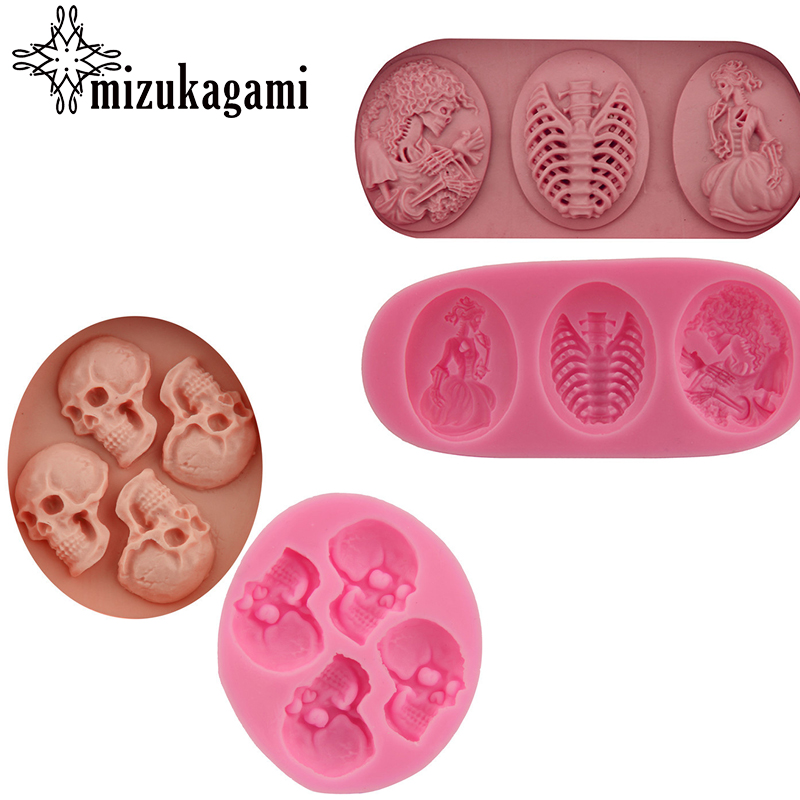 1pcs UV Resin Jewelry Liquid Silicone Mold 3D Skull Punk Resin Charms Pendant Mold For Silicone Resin Mold For Jewelry Making