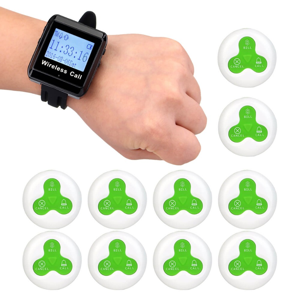 433MHz Restaurant Pager Wireless Calling System Watch Receiver+10 Call Transmitter Button Pager Restaurant Equipment F3255 wireless bell button for table service and pager display receiver showing call number for simple queue wireless call system