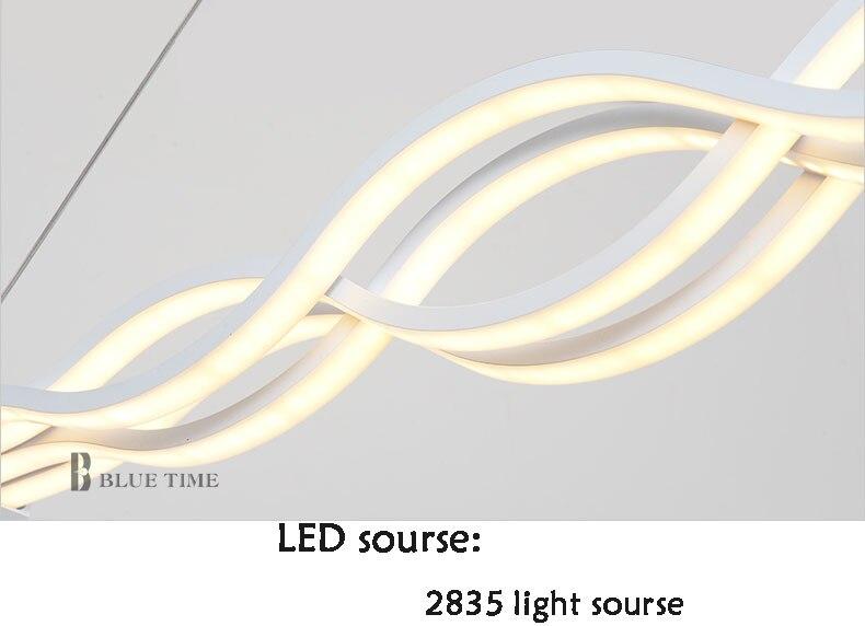 Image 5 - Волнистая дизайнерская Люстра для столовой, черная белая люстра, современная люстра, светодиодное освещение, переменный ток 85 260 в, 100 см, 120 см-in Люстры from Лампы и освещение