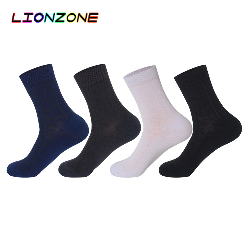 LIONZONE Business Men Dress Socks Classic Decorative Heren Sokken Anti-Bacterial Breathable Hemp Socks Bamboo