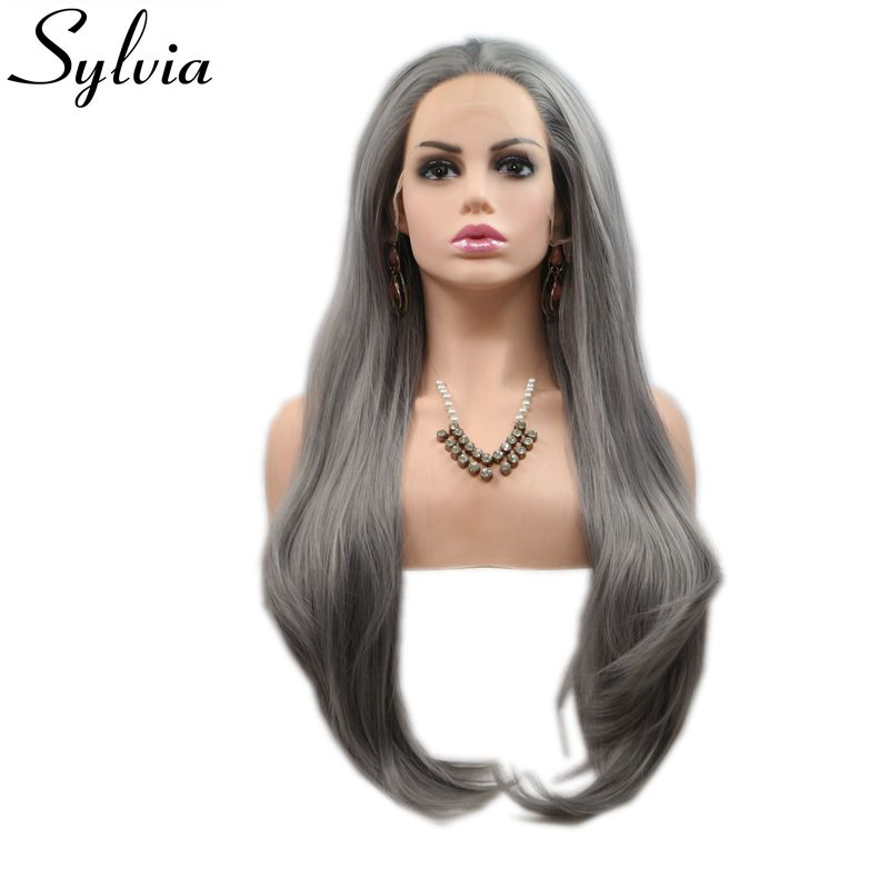 Sylvia Natural Straight Hair Long Grey Women Hair Synthetic Lace Front Wig Heat Resistant Cosplay Party Wig Glueless Hand Tied