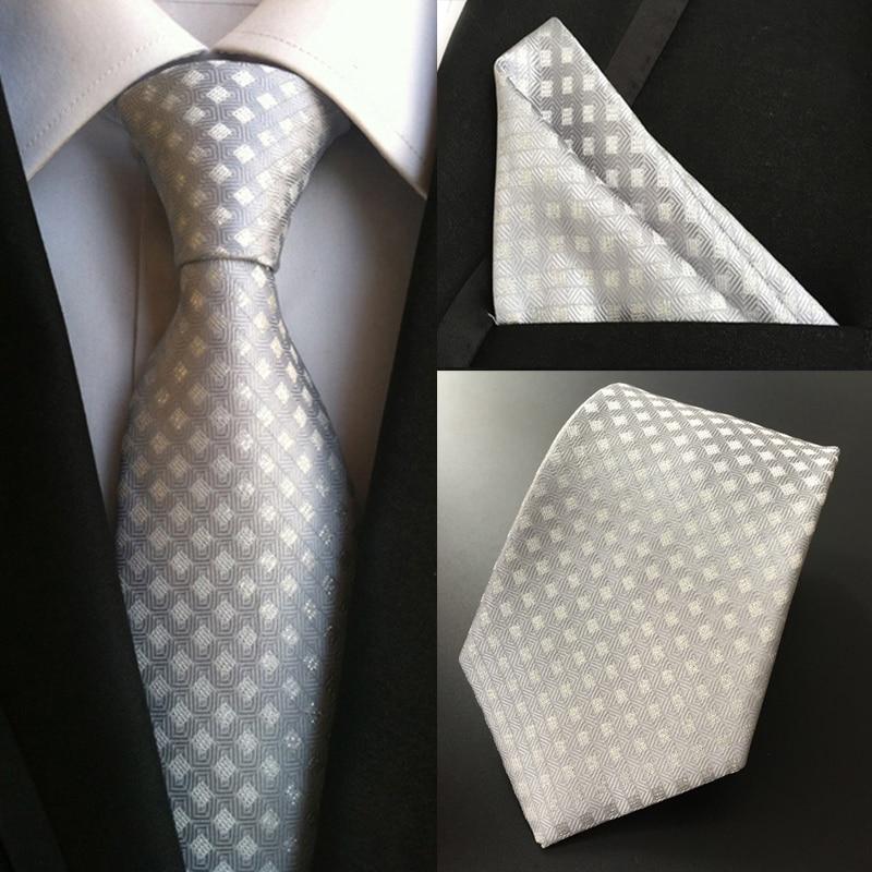 Factory Classic Business Wedding Party Men's 100% Silk Ties Handkerchief Set Silver White Plaid Pocket Square Necktie Hanky