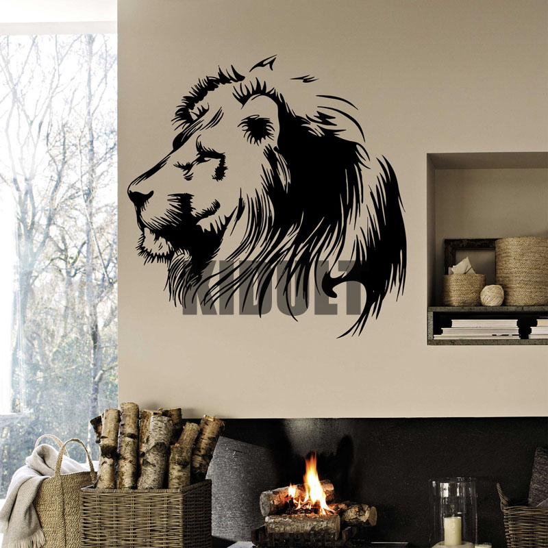 Lion Animal Decals Vinyl Wall Stickers Personalized Creative Cafe Office Bedroom Wall Art Painting Home Decoration Multicolor