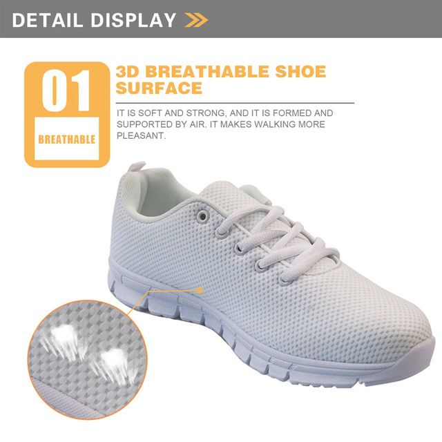 INSTANTARTS Spring Nurse Flat Shoes Women Cute Cartoon Nurses Printed Women's Sneakers Shoes Breathable Mesh Flats Female Shoes 1