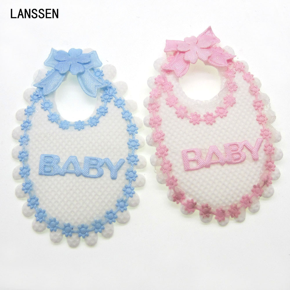 12pcs Handmade Fabric Baby Bibs Applique Baby Shower Baptism Embellishments Trim Craft Decorations 4.5 x 7.0cm