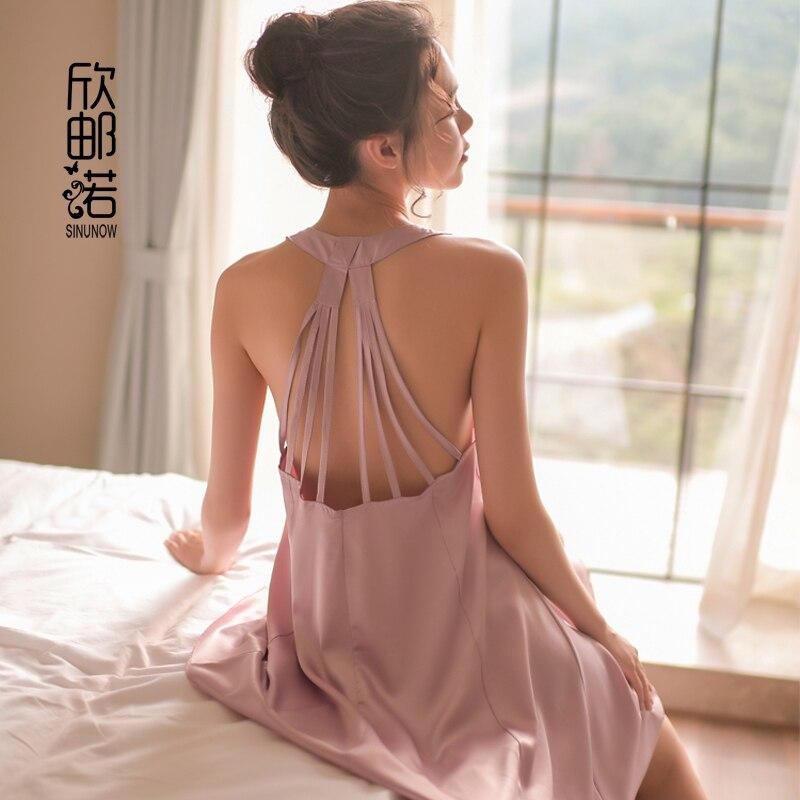 Summer Women's Sleep Lounge Imitation silk plus size backless   Nightgowns   sexy sling halter   Sleepshirts   sexy V-neck   nightgown