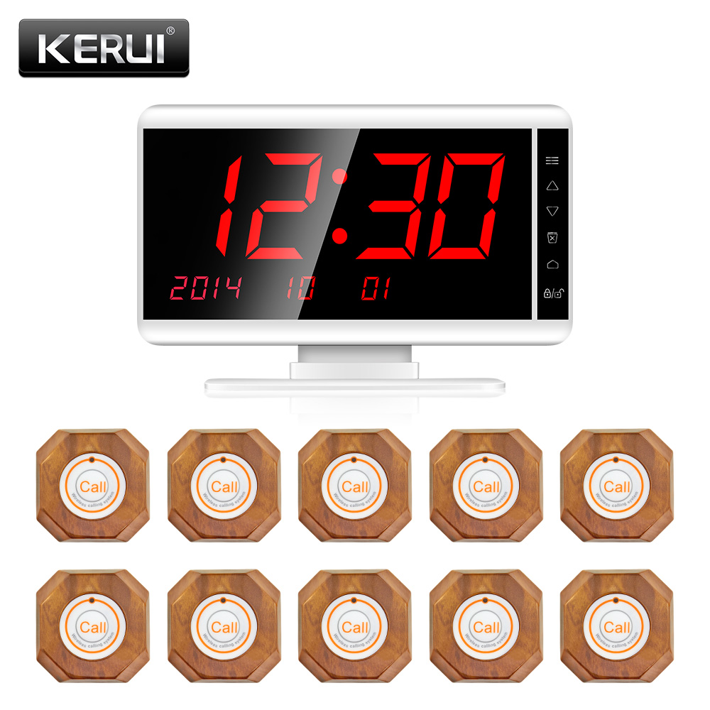 KERUI Wireless Waiter Calling System Long Distance transmission For Restaurant Server Pager System 1 Receiver 10 Call ButtonKERUI Wireless Waiter Calling System Long Distance transmission For Restaurant Server Pager System 1 Receiver 10 Call Button