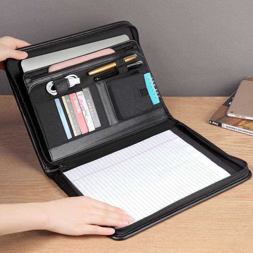 A4 dossier dossier organisateur document sac pour ipad portefeuille padfolio porte-documents avec fermeture à glissière USB boucle porte-stylo sac de téléphone portable 1178A