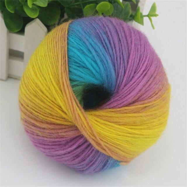 50g1 Ball Bunte Regenbogen Wolle Garn Hand Strick Gewebt Gefärbt