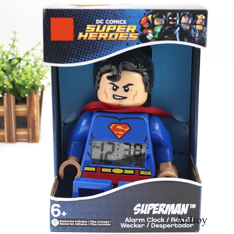 DC COMIC Super Heroes Superman Batman Alarm Clock PVC Figure Collectible Model Toy Gift 2 Styles neca dc comics batman superman the joker pvc action figure collectible toy 7 18cm 3 styles