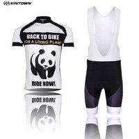Homens de Bicicleta Roupas Panda XINTOWN Ciclismo Jersey Bib shorts Brancos Pro MTB Bicicleta Top Ciclismo Desgaste Camisas para o verão