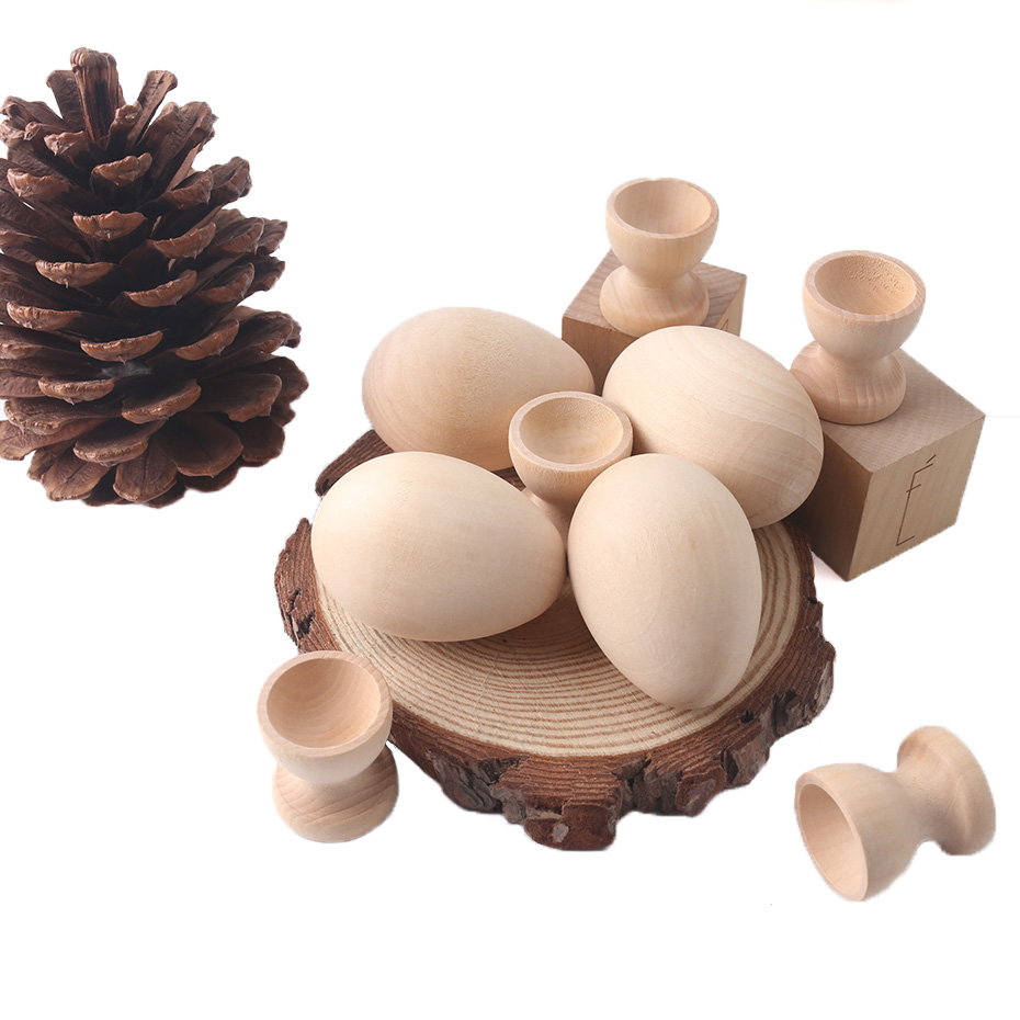 2pc Wooden Egg Cups Easter Egg DIY Unfinished Crafts Smooth Surface Wooden Teething Toys Baby Gifts Wood Painting Blocks Toys