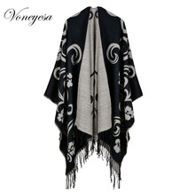 Voneyesa New Winter Oversize Poncho Scarf Women Fashion Scarves Cape Plaid Warm Winter Shawl Stole Coat Large Size RO17057