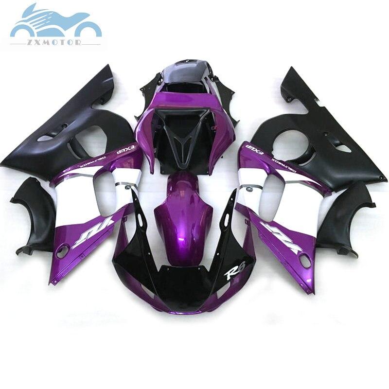 Kits de carénage de moto sur mesure pour YAMAHA YZFR6 1998-2002 YZF R6 98 99 00 01 02 carénages ABS noir violet carrosserie EBA13