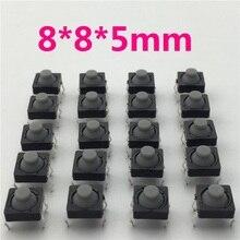 20 adet/grup 8x8x5 MM 4PIN G77 Iletken Silikon Sessiz Dokunsal Inceliğini Push Button Mikro Anahtarı Öz sıfırlama Ücretsiz Kargo