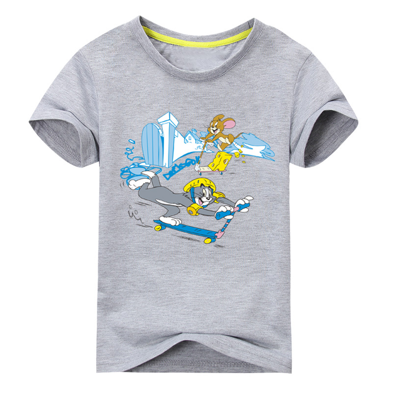 2018 Drop Ship Cartoon tom and jerry Printing T-shirts For Boy Girls Short Sleeve T Shirts Children Tee Tops Kids Clothes DX013 drop shoulder lantern sleeve solid tee