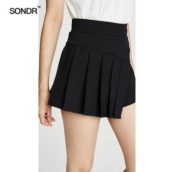 SONDR 2019 summer new Niche designer irregular pleated shorts for women black high-waisted a-line slim joker