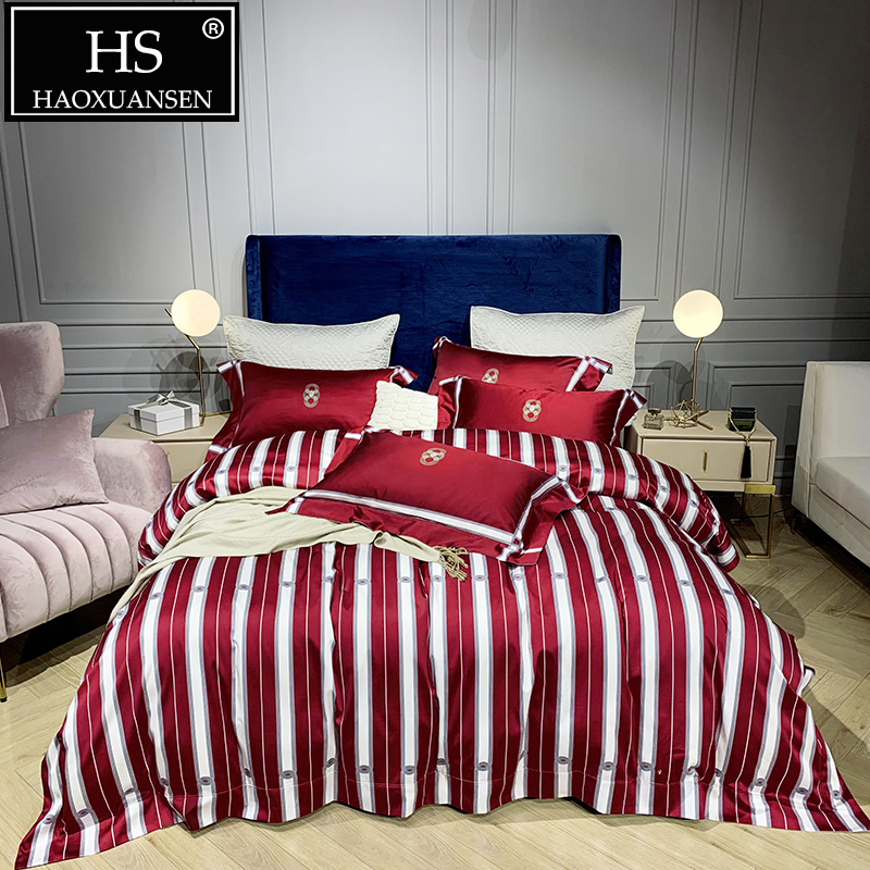 Cotton Red White Stripe Digital Printed 4pcs Bedding Set 1000 Thread Count Double Bed Linen Sets Nordic Bed Set Queen King SizeCotton Red White Stripe Digital Printed 4pcs Bedding Set 1000 Thread Count Double Bed Linen Sets Nordic Bed Set Queen King Size
