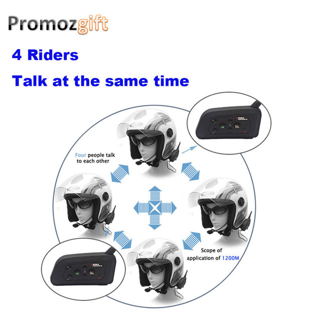 2016 2 * V6 + 2 * V4 1200M 4 Riders Motorcycle Intercom Helmet Headset helmet bluetooth headset motorcycle bluetooth headset