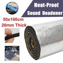 1pc Aluminum Foil + Rubber Sound Insulation Foam Silver Car Soundproof Mat Damping 100*50*2cm