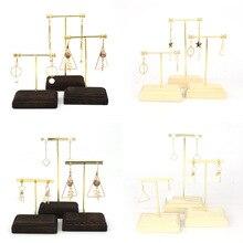Vintage Wood Metal Plated Ear Studs Drop Rings Jewelry Holder Display Stand Tabletop Dangle Earrings Hanging Hook Organizer Rack