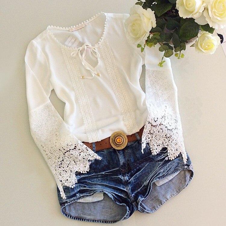 Tallas s-xl nueva marca  mujeres crochet encaje gasa blusas de la camisa de mang
