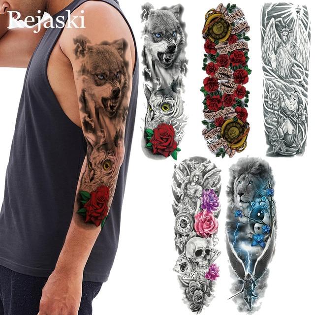 9adc9b1a6 Lobo Da Floresta com Coruja Olho azul Rosa Completa Braço Tatuagem  Temporária adesivos Arte Do Corpo