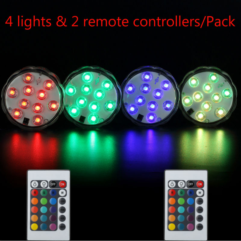 4Pcs/lot Remote Waterproof Submersible LED Light Base For Crystal Glass,Vases,Shisha,Hookah